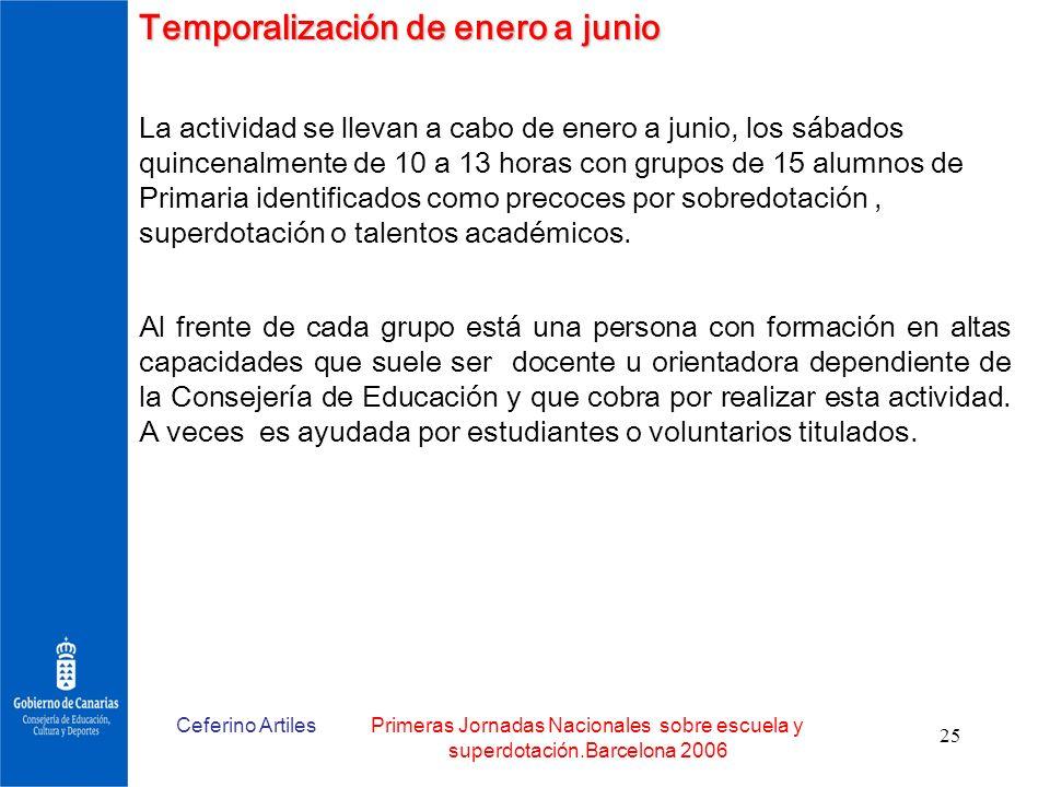 Temporalización de enero a junio