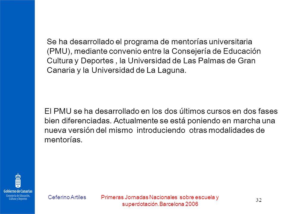 Se ha desarrollado el programa de mentorías universitaria (PMU), mediante convenio entre la Consejería de Educación Cultura y Deportes , la Universidad de Las Palmas de Gran Canaria y la Universidad de La Laguna.