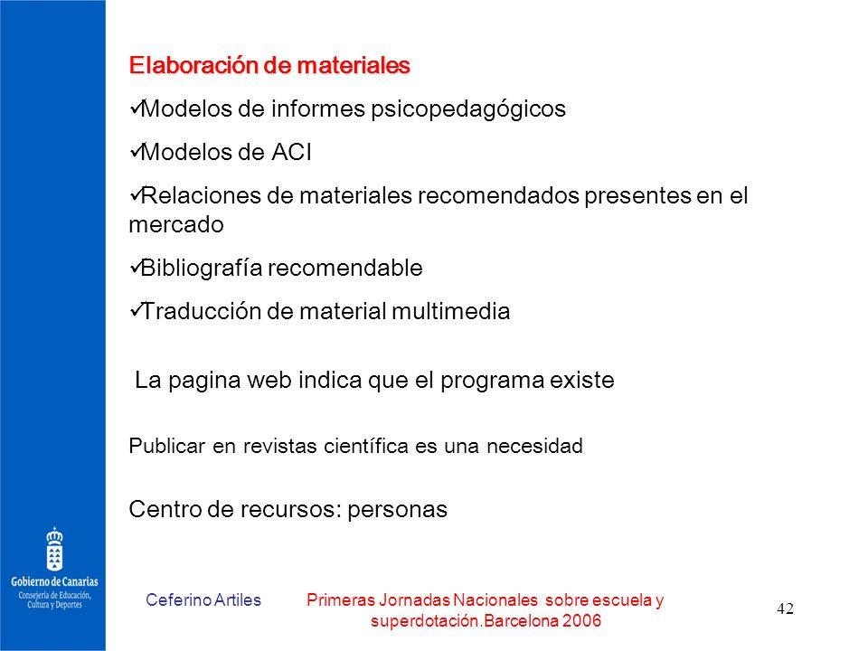 Elaboración de materiales Modelos de informes psicopedagógicos