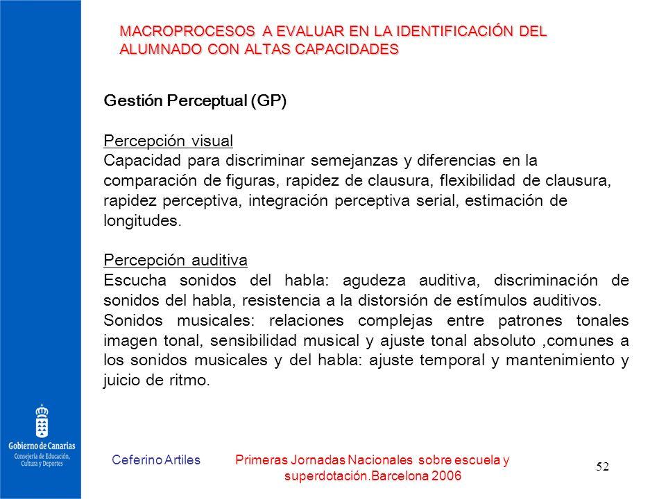 Gestión Perceptual (GP) Percepción visual