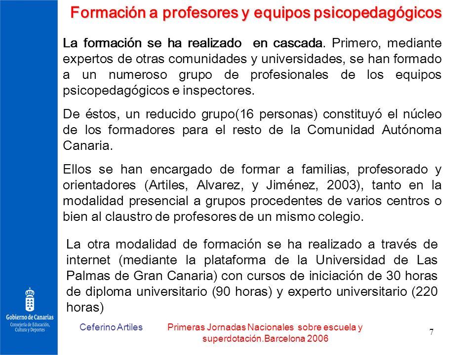 Formación a profesores y equipos psicopedagógicos