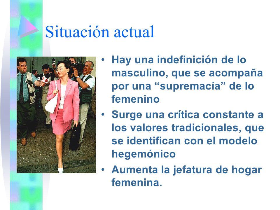 Situación actual Hay una indefinición de lo masculino, que se acompaña por una supremacía de lo femenino.
