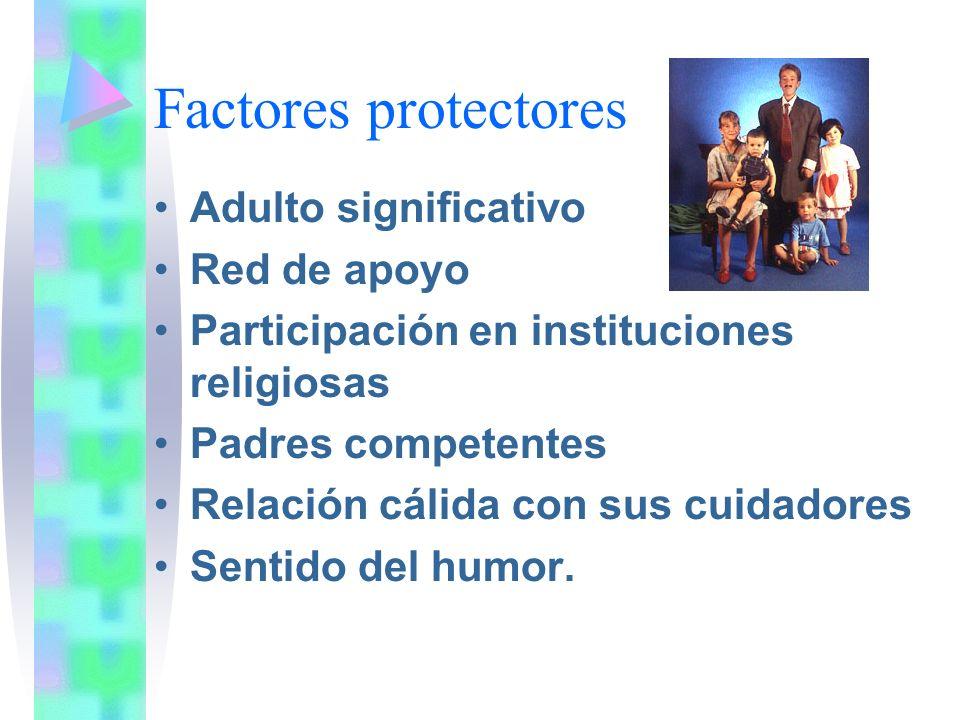 Factores protectores Adulto significativo Red de apoyo