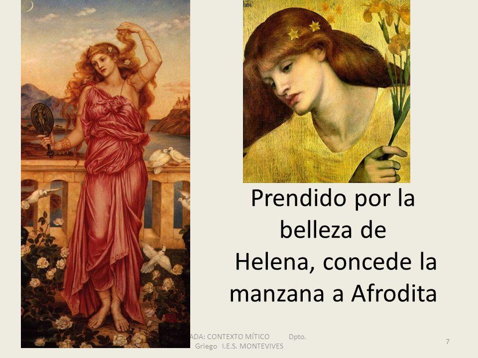 Prendido por la belleza de Helena, concede la manzana a Afrodita