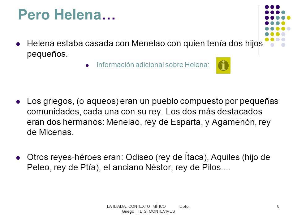 Pero Helena… Helena estaba casada con Menelao con quien tenía dos hijos pequeños. Información adicional sobre Helena: