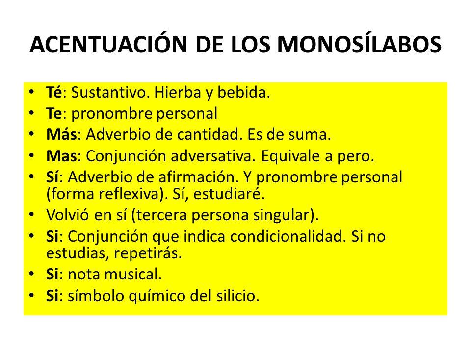 ACENTUACIÓN DE LOS MONOSÍLABOS
