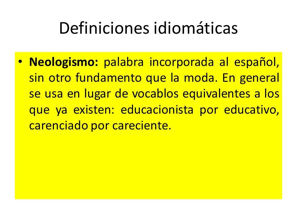 Definiciones idiomáticas