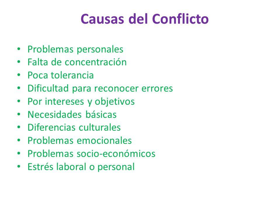 Causas del Conflicto Problemas personales Falta de concentración