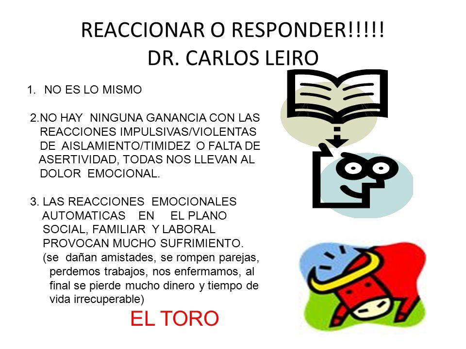 REACCIONAR O RESPONDER!!!!! DR. CARLOS LEIRO