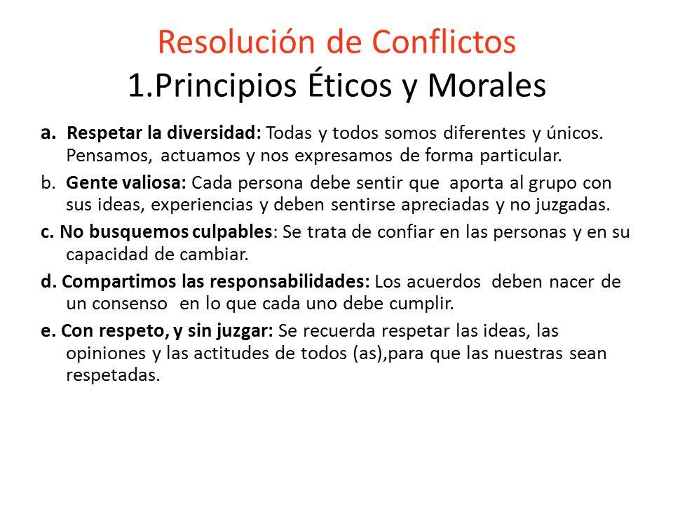 Resolución de Conflictos 1.Principios Éticos y Morales