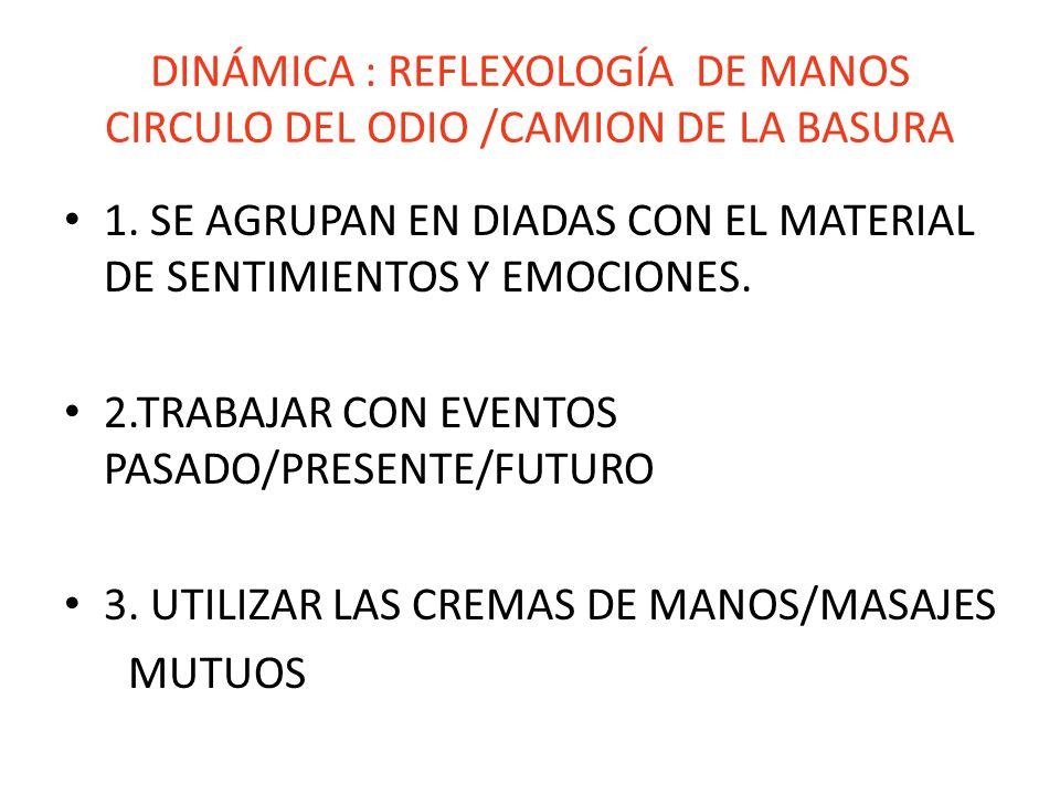 DINÁMICA : REFLEXOLOGÍA DE MANOS CIRCULO DEL ODIO /CAMION DE LA BASURA