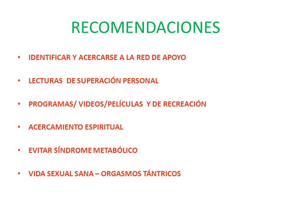 RECOMENDACIONES IDENTIFICAR Y ACERCARSE A LA RED DE APOYO