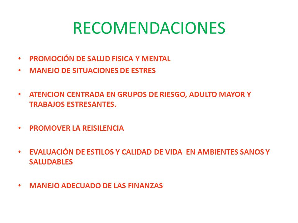 RECOMENDACIONES PROMOCIÓN DE SALUD FISICA Y MENTAL