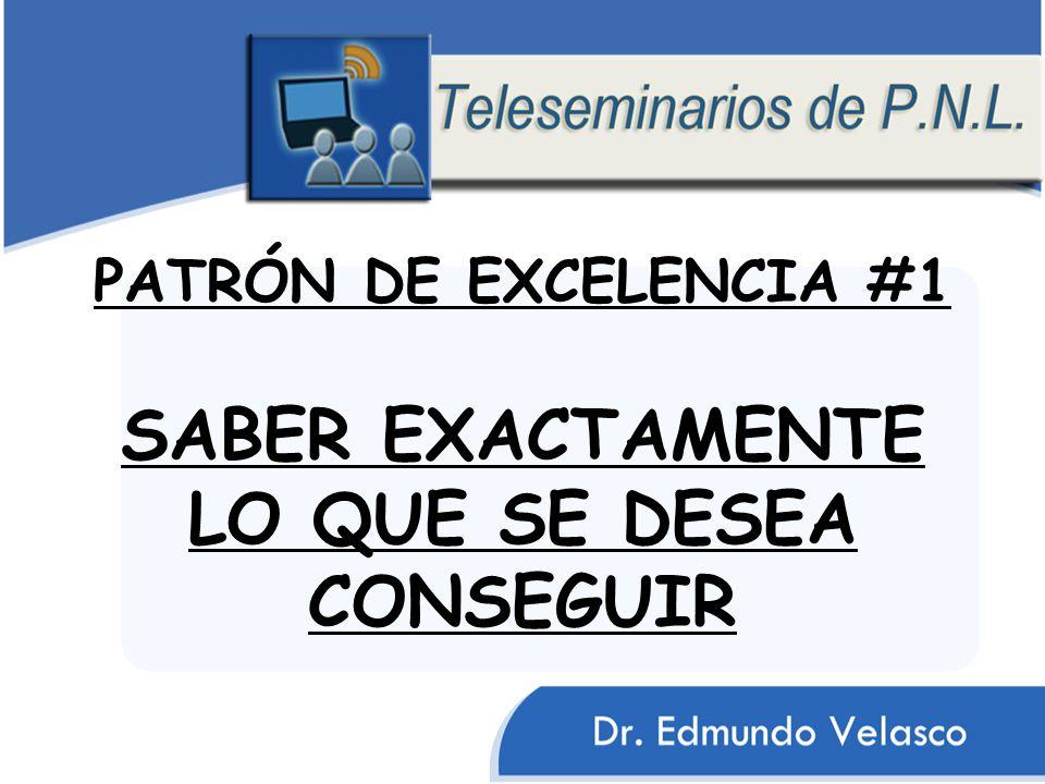 PATRÓN DE EXCELENCIA #1 SABER EXACTAMENTE LO QUE SE DESEA CONSEGUIR