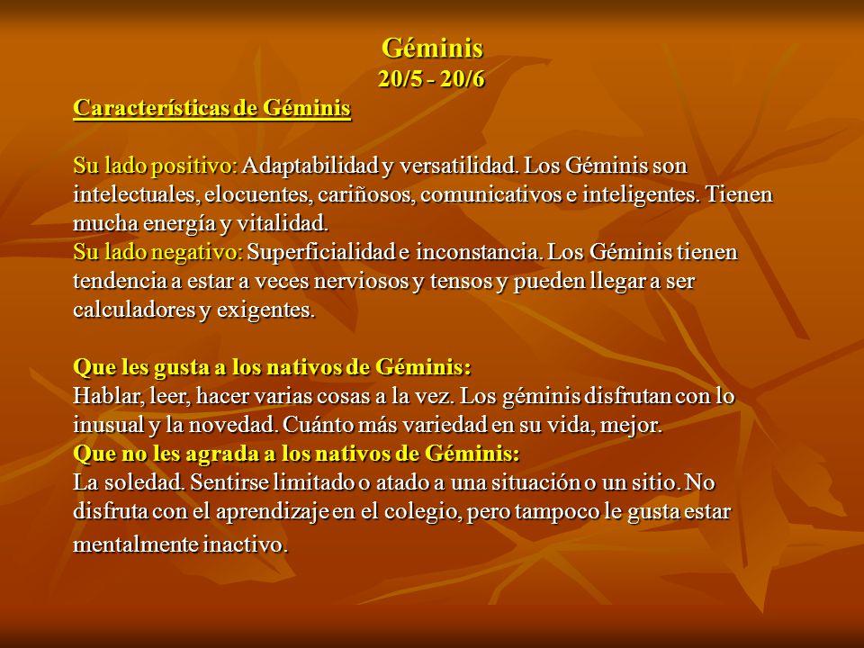 Géminis 20/5 - 20/6 Características de Géminis