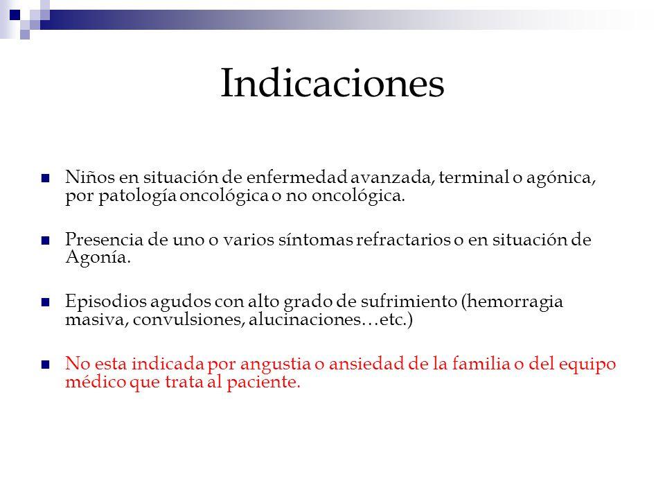 Indicaciones Niños en situación de enfermedad avanzada, terminal o agónica, por patología oncológica o no oncológica.