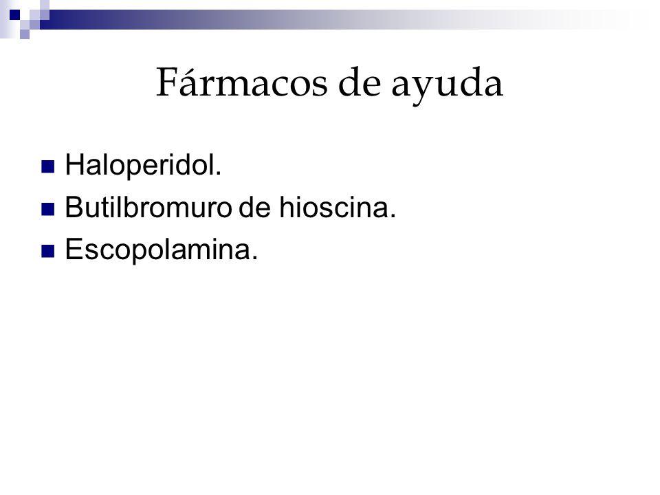 Fármacos de ayuda Haloperidol. Butilbromuro de hioscina. Escopolamina.
