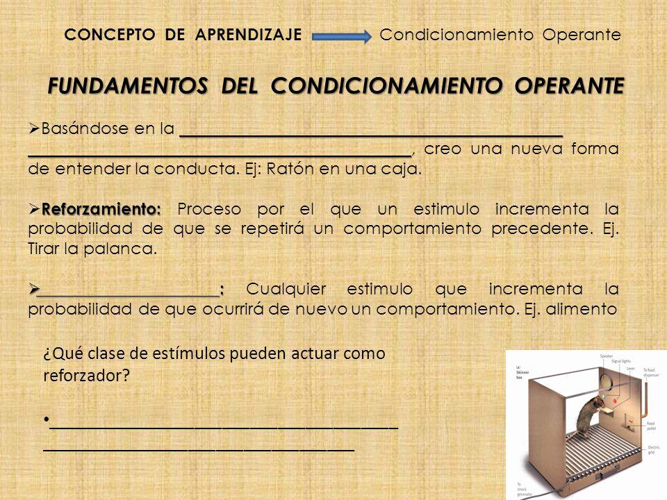 FUNDAMENTOS DEL CONDICIONAMIENTO OPERANTE