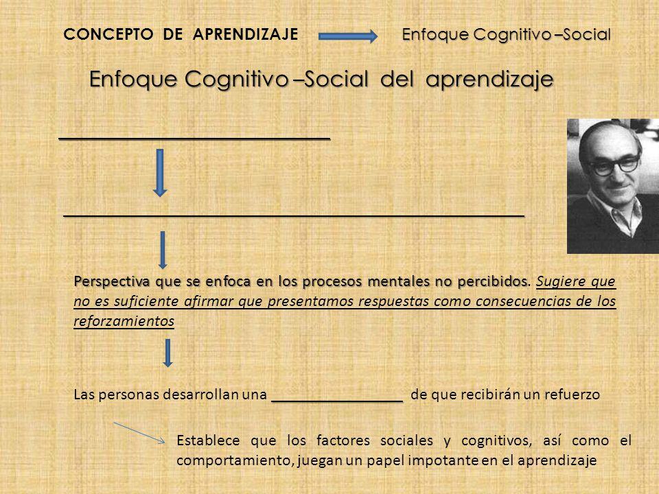Enfoque Cognitivo –Social del aprendizaje