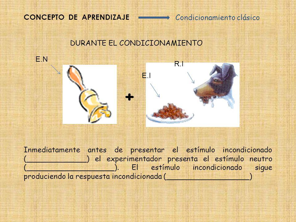 + CONCEPTO DE APRENDIZAJE Condicionamiento clásico