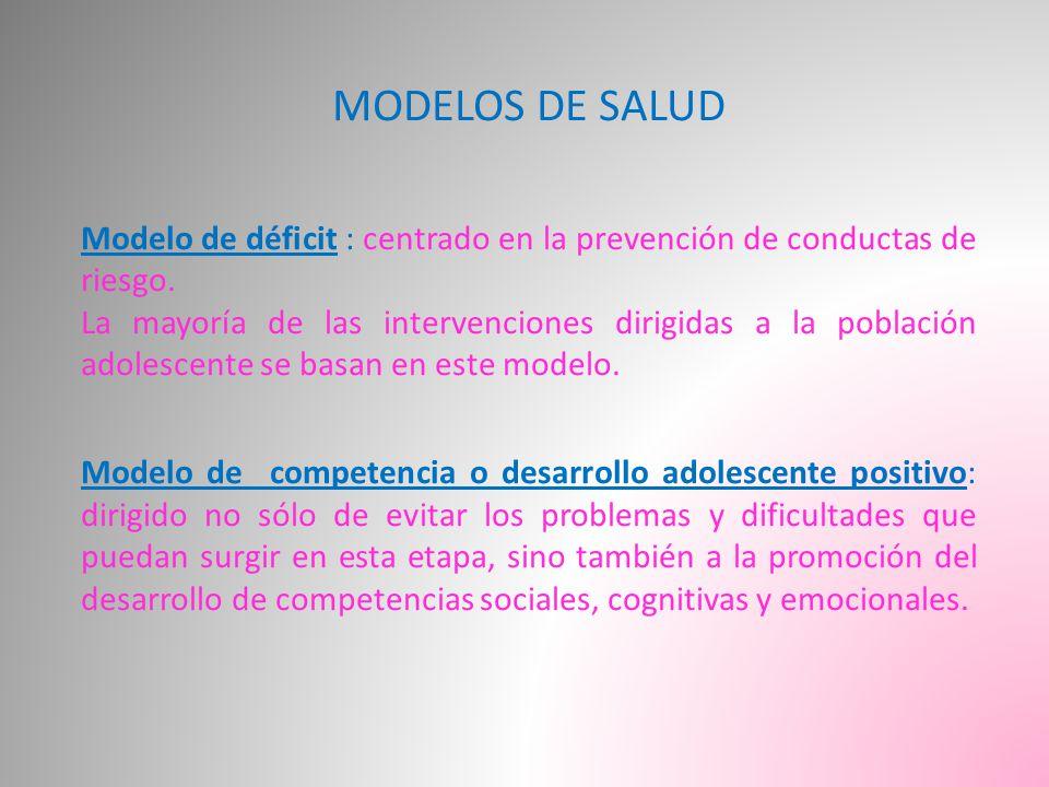 MODELOS DE SALUD Modelo de déficit : centrado en la prevención de conductas de riesgo.