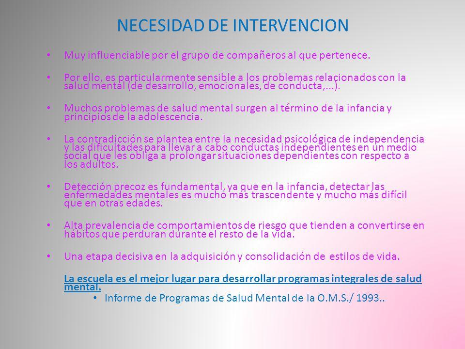 NECESIDAD DE INTERVENCION