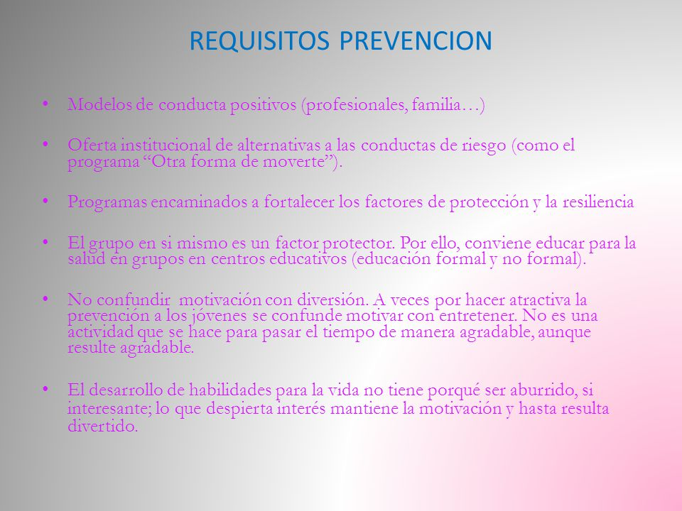 REQUISITOS PREVENCION