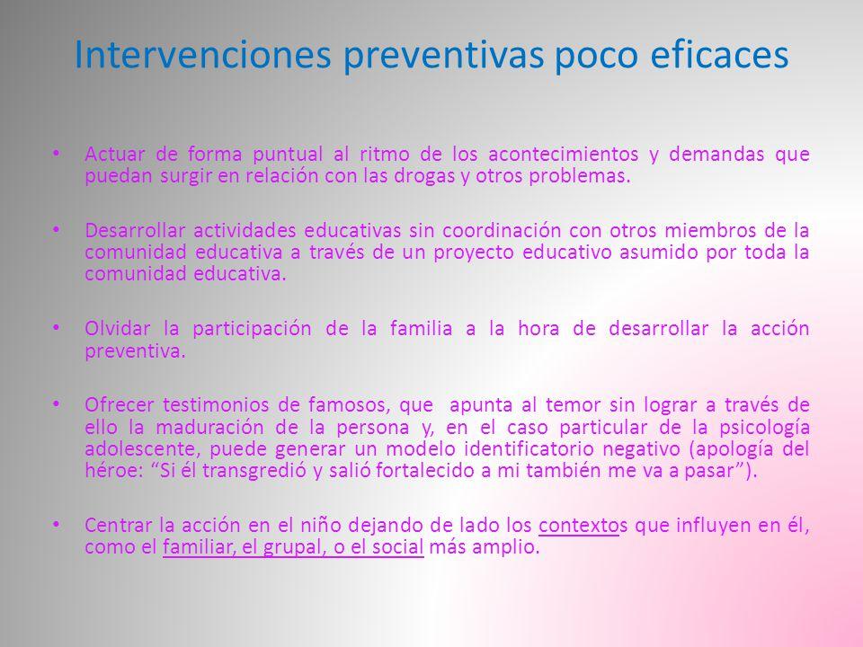 Intervenciones preventivas poco eficaces