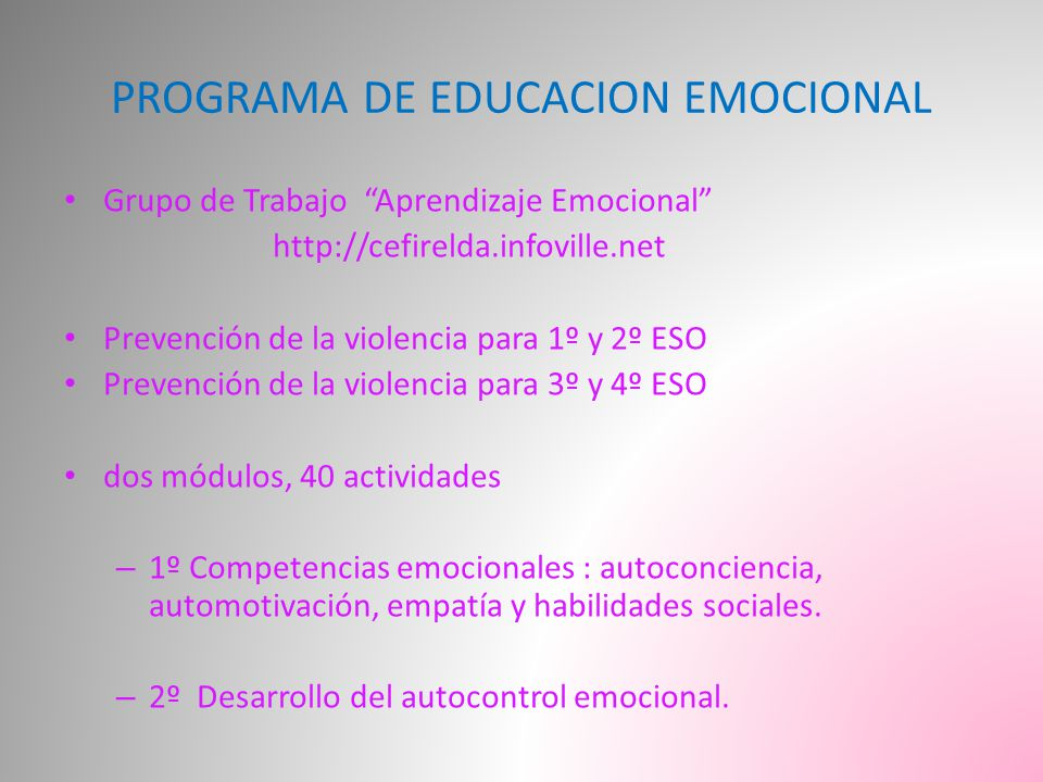 PROGRAMA DE EDUCACION EMOCIONAL