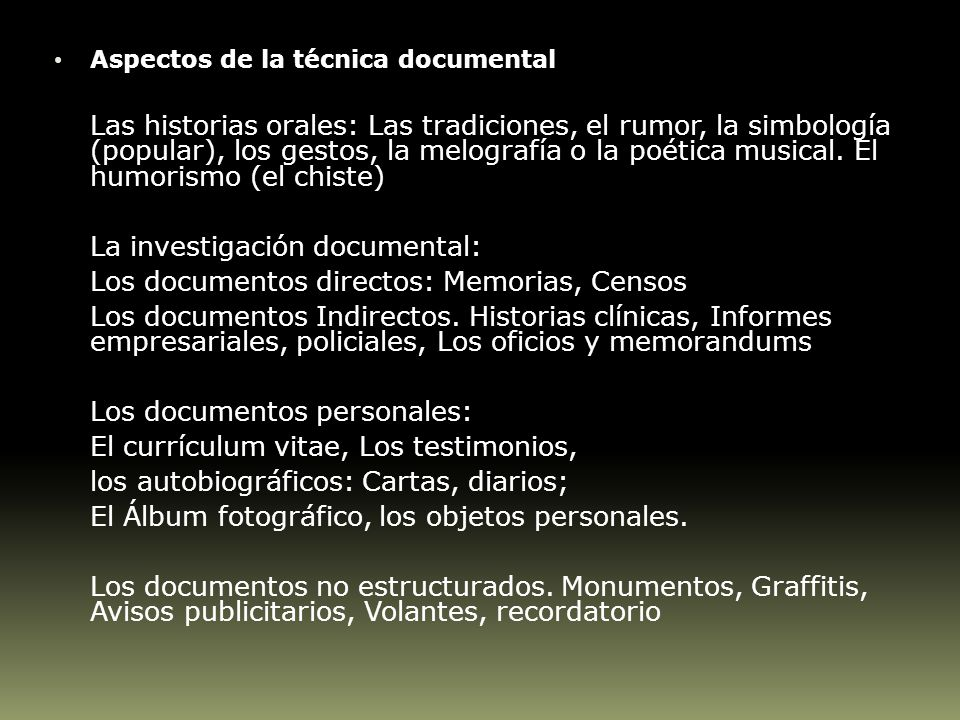La investigación documental: Los documentos directos: Memorias, Censos