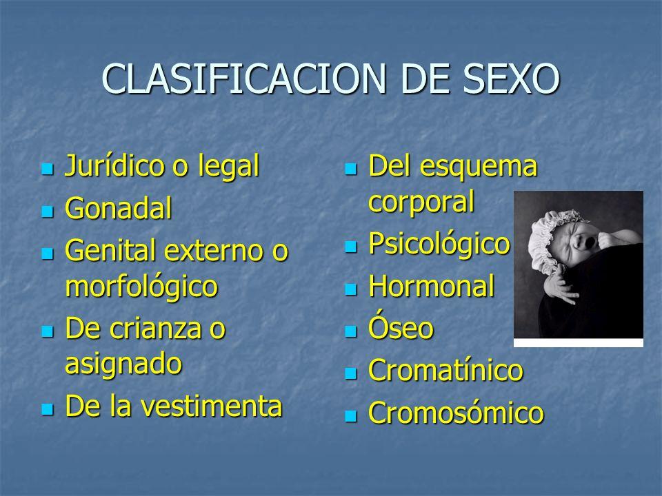 CLASIFICACION DE SEXO Jurídico o legal Gonadal