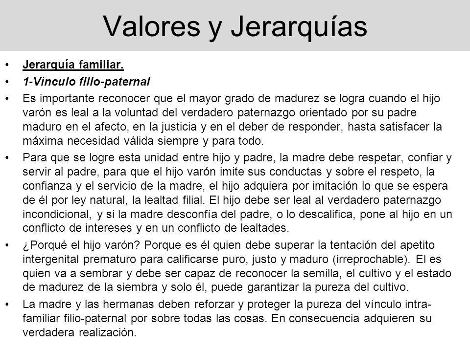 Valores y Jerarquías Jerarquía familiar. 1-Vínculo filio-paternal