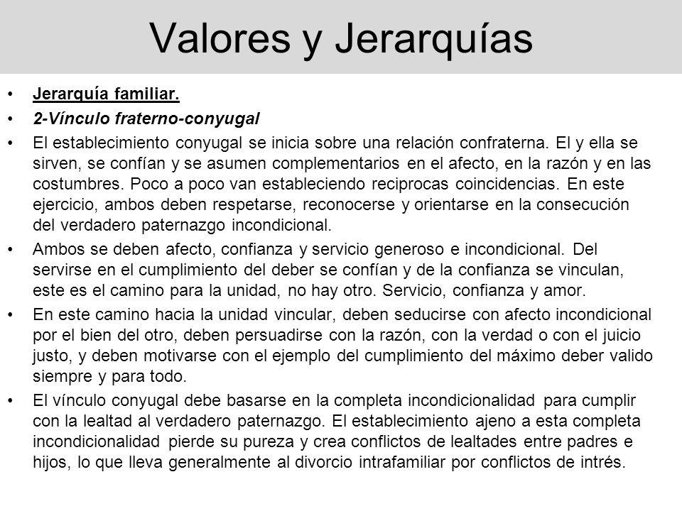 Valores y Jerarquías Jerarquía familiar. 2-Vínculo fraterno-conyugal