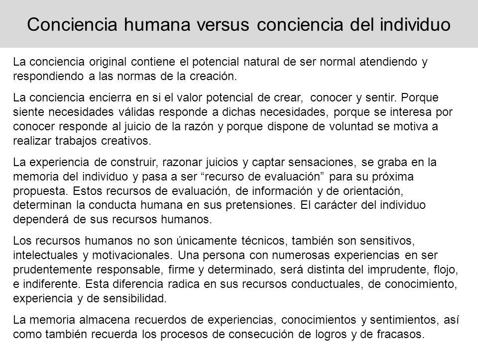 Conciencia humana versus conciencia del individuo