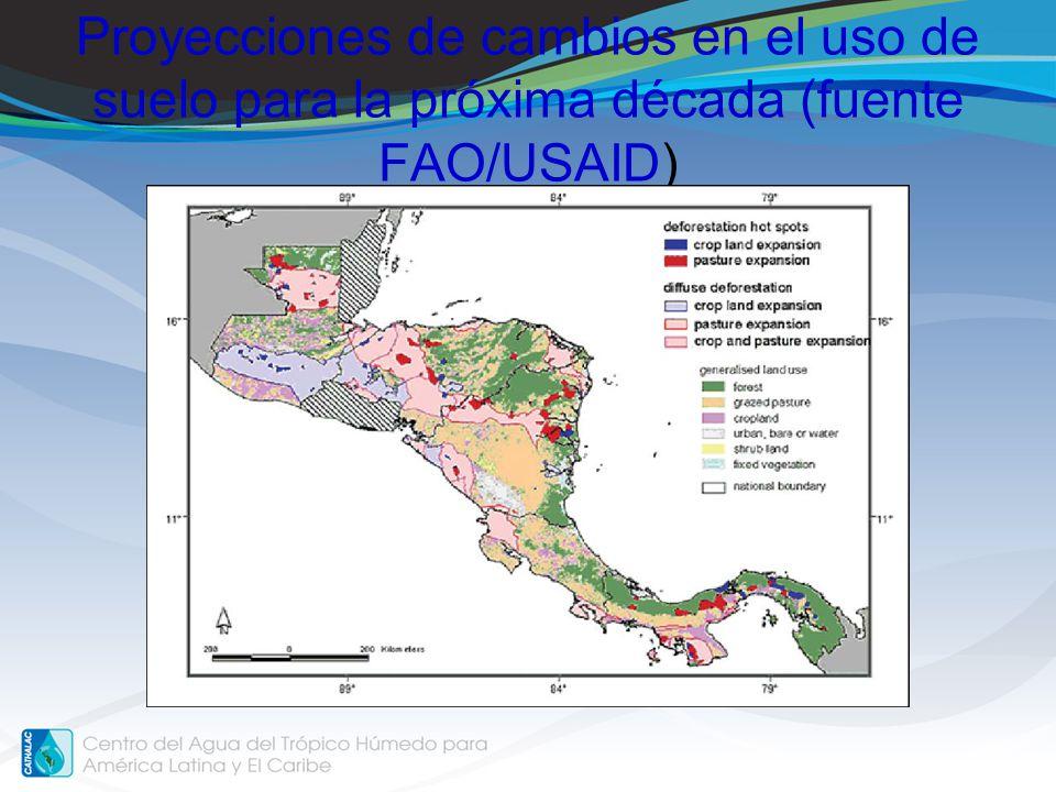 Proyecciones de cambios en el uso de suelo para la próxima década (fuente FAO/USAID)