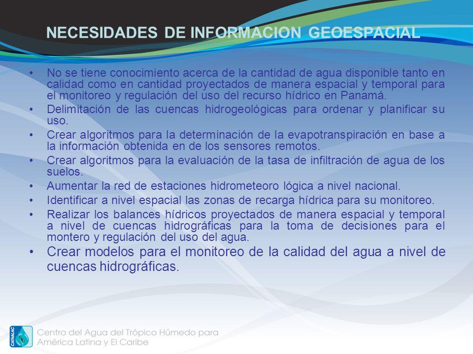 NECESIDADES DE INFORMACION GEOESPACIAL