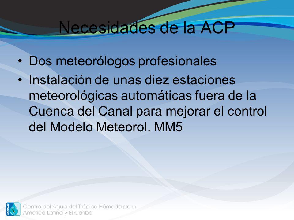 Necesidades de la ACP Dos meteorólogos profesionales