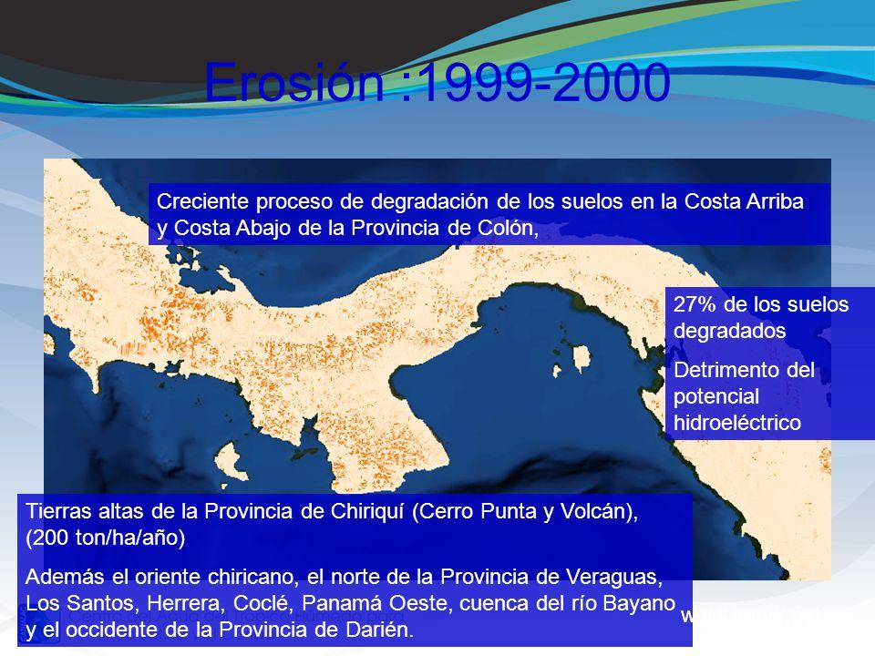 Erosión :1999-2000 Creciente proceso de degradación de los suelos en la Costa Arriba y Costa Abajo de la Provincia de Colón,