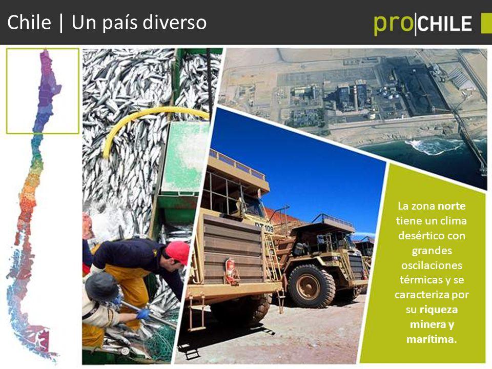 Chile | Un país diverso La zona norte tiene un clima desértico con grandes oscilaciones térmicas y se caracteriza por su riqueza minera y marítima.