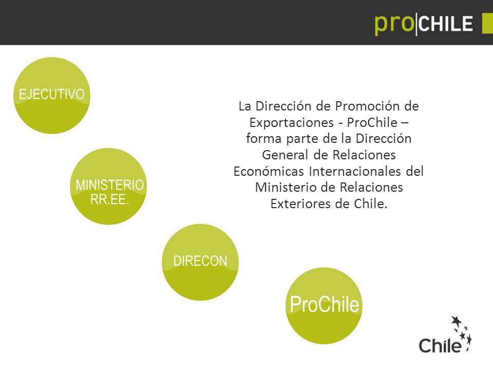 La Dirección de Promoción de Exportaciones ‐ ProChile – forma parte de la Dirección General de Relaciones Económicas Internacionales del Ministerio de Relaciones Exteriores de Chile.