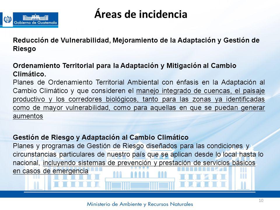 Áreas de incidencia Reducción de Vulnerabilidad, Mejoramiento de la Adaptación y Gestión de Riesgo.