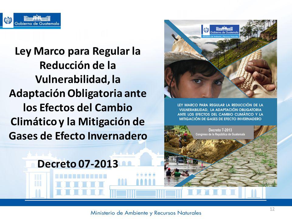 Ley Marco para Regular la Reducción de la Vulnerabilidad, la Adaptación Obligatoria ante los Efectos del Cambio Climático y la Mitigación de Gases de Efecto Invernadero Decreto 07-2013