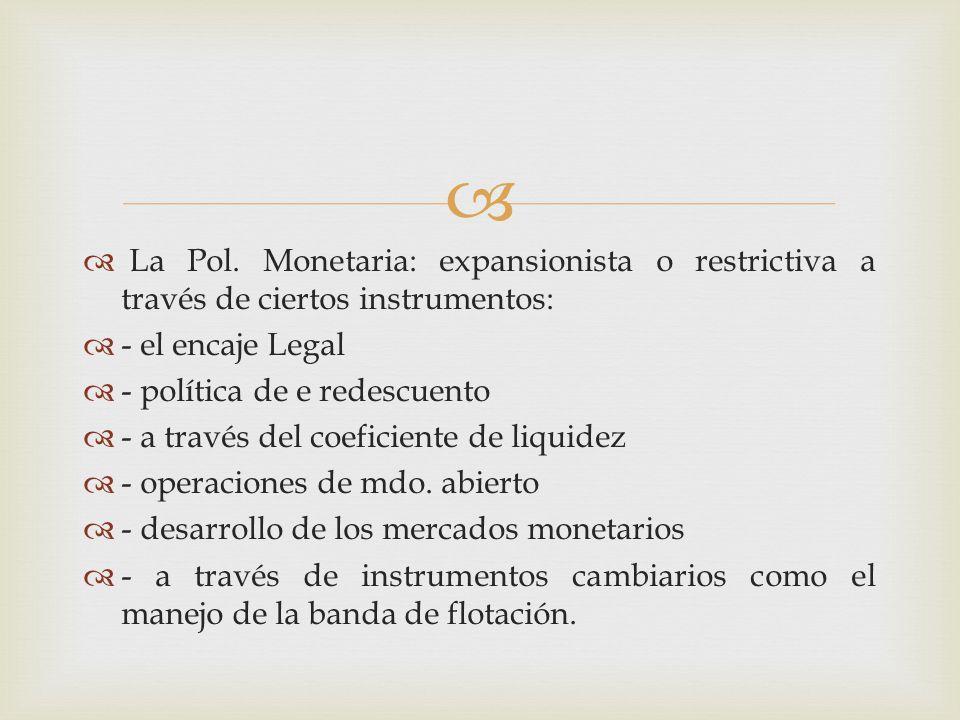 La Pol. Monetaria: expansionista o restrictiva a través de ciertos instrumentos:
