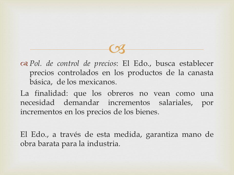 Pol. de control de precios: El Edo