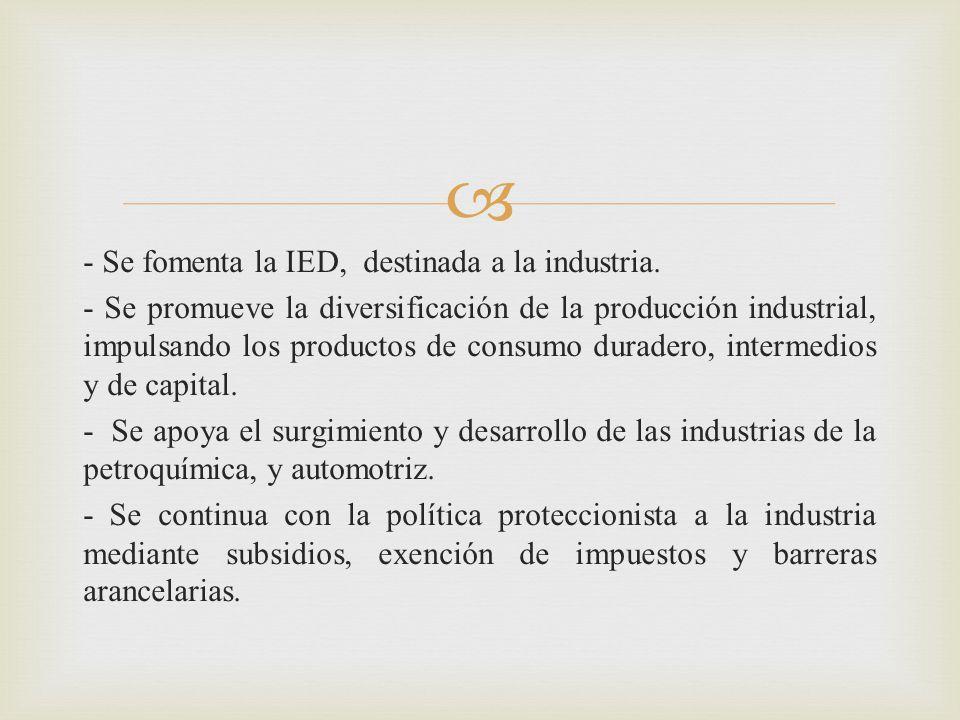 - Se fomenta la IED, destinada a la industria
