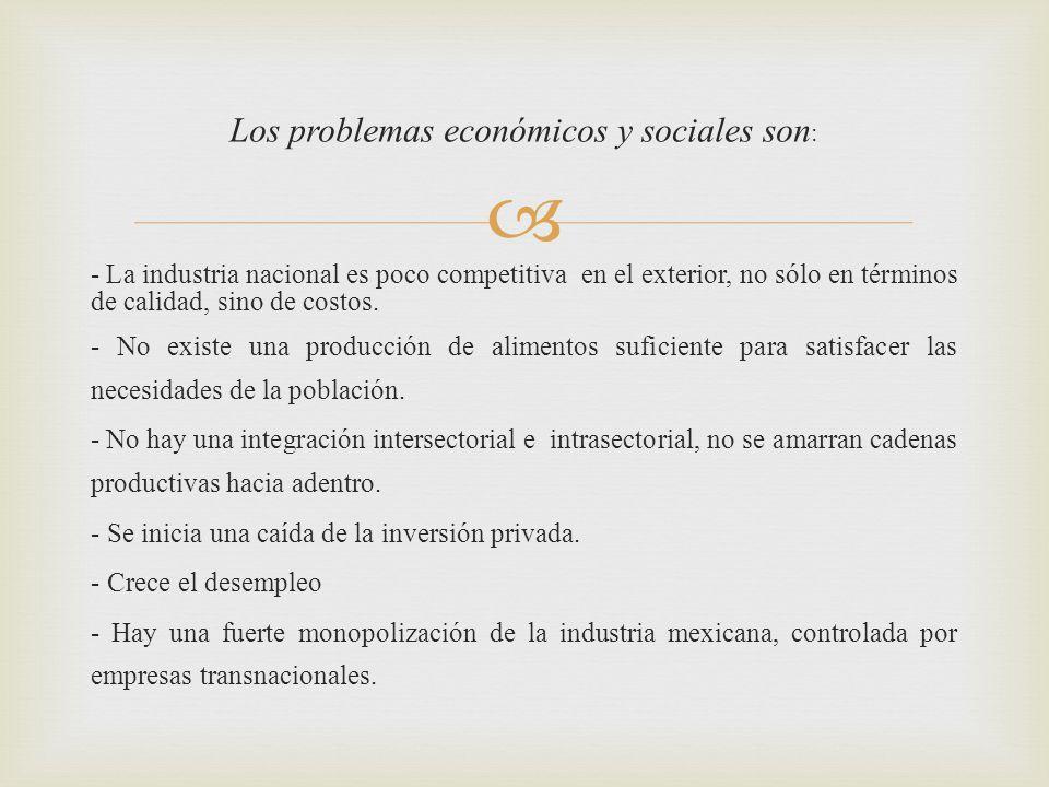 Los problemas económicos y sociales son: