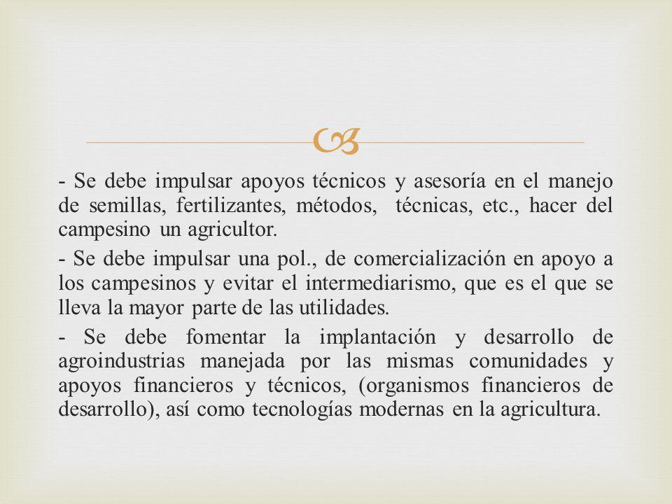 - Se debe impulsar apoyos técnicos y asesoría en el manejo de semillas, fertilizantes, métodos, técnicas, etc., hacer del campesino un agricultor.