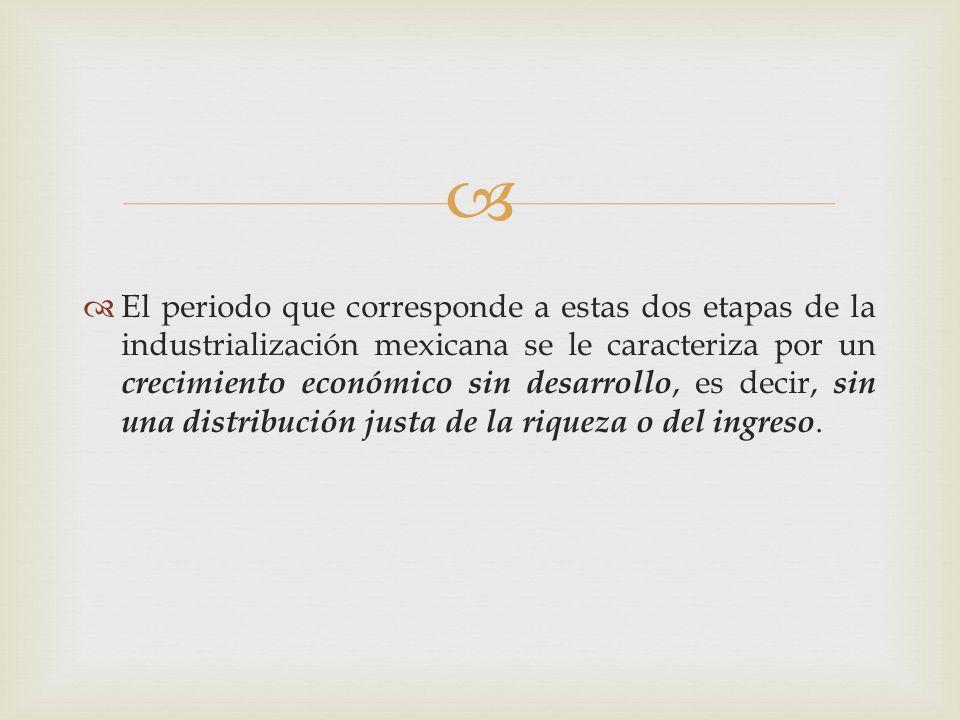 El periodo que corresponde a estas dos etapas de la industrialización mexicana se le caracteriza por un crecimiento económico sin desarrollo, es decir, sin una distribución justa de la riqueza o del ingreso.