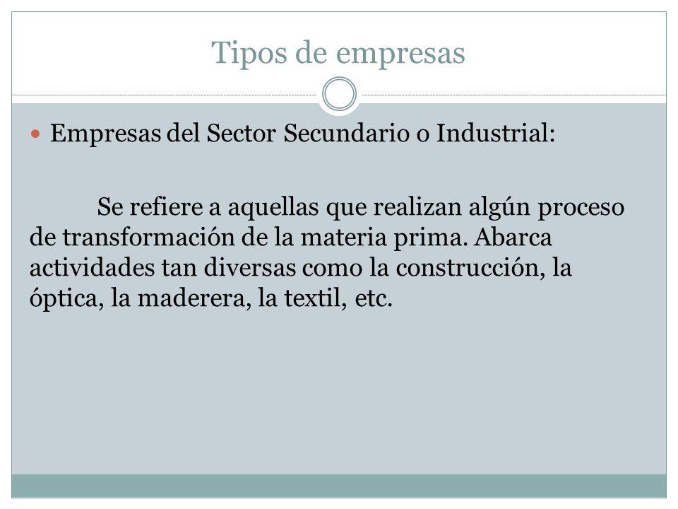 Tipos de empresas Empresas del Sector Secundario o Industrial: