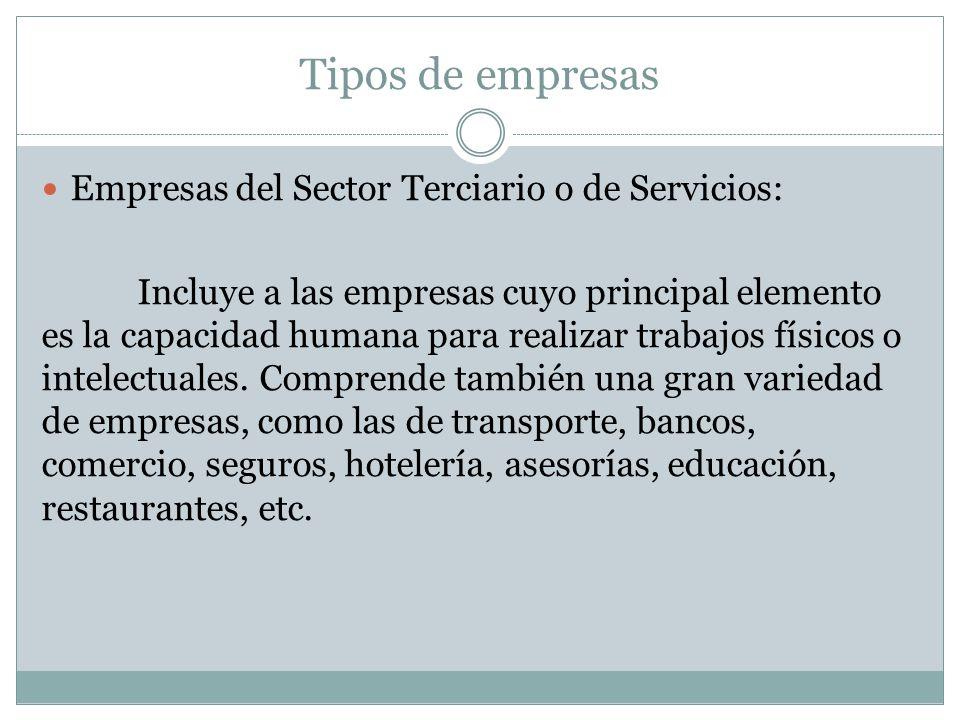 Tipos de empresas Empresas del Sector Terciario o de Servicios: